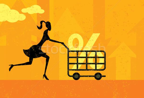 Kamatláb vásárlás nő jó százalék bevásárlókocsi Stock fotó © retrostar