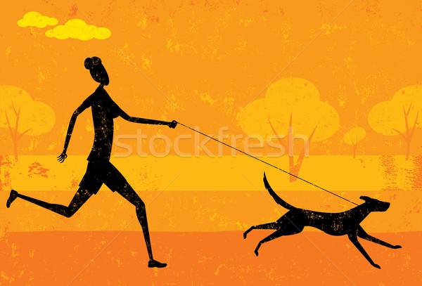 Uruchomiony psa kobieta streszczenie parku oddzielny Zdjęcia stock © retrostar