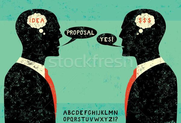 Affaires face deux affaires alphabet changement Photo stock © retrostar