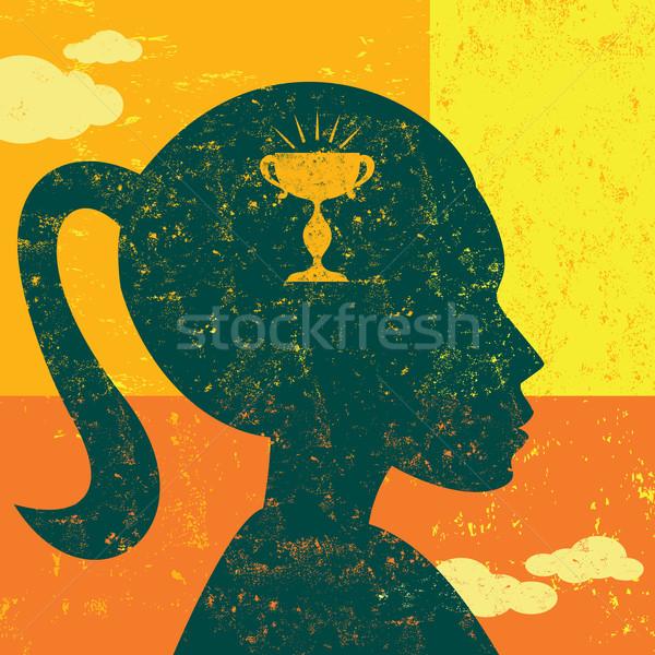 Objectif esprit femme pense séparé couche Photo stock © retrostar