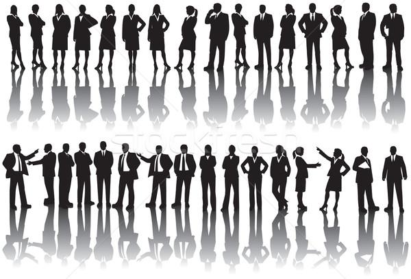 Pessoas de negócios silhuetas homens mulheres corporativo traje de negócios Foto stock © retrostar