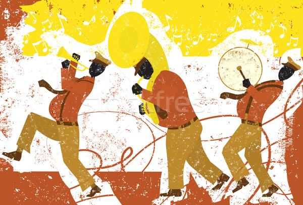 Rua músicos caminhada banda trombeta jogador Foto stock © retrostar