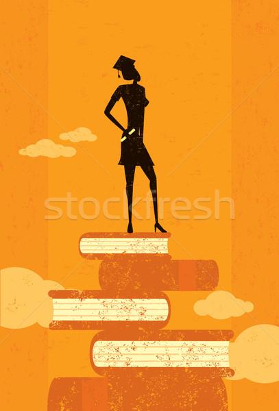 честолюбивый выпускник Постоянный книгах аннотация небе Сток-фото © retrostar