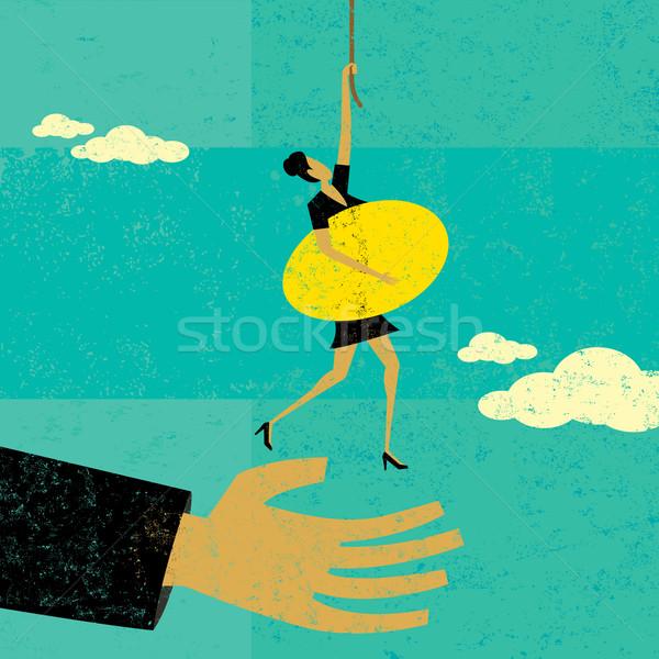 Pensioen helpen vrouw houden helpende hand hand Stockfoto © retrostar