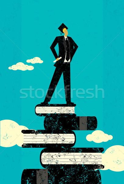 Ambitny absolwent stałego książek streszczenie niebo Zdjęcia stock © retrostar