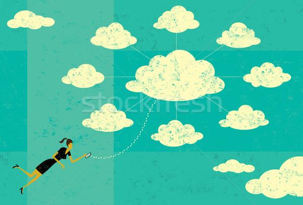 Kobieta interesu Chmura serwera komórkowych Zdjęcia stock © retrostar