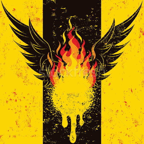 Ognisty skrzydełka płomień zestaw Zdjęcia stock © retrostar