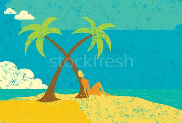 женщину острове сидящий пальма пустыне пляж Сток-фото © retrostar