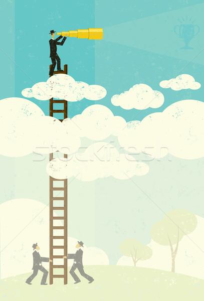 Empresario objetivo futuro nubes Foto stock © retrostar