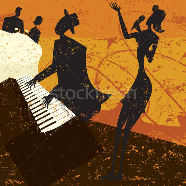 Clube cantora jazz piano jogador casal Foto stock © retrostar