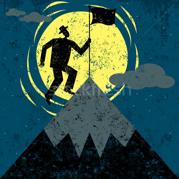 Bandera montana hombre éxito Foto stock © retrostar