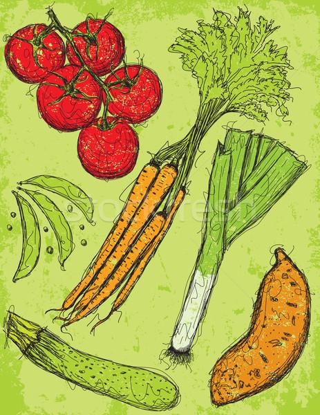 Vegetales mixto hortalizas alimentos dibujo Foto stock © retrostar
