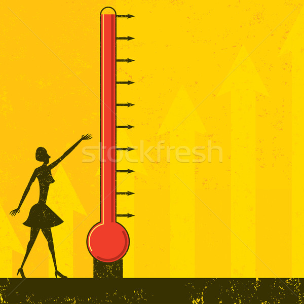Stockfoto: Doel · thermometer · vrouw · vooruitgang · groot