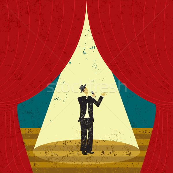 Foto stock: Cantante · etapa · masculina · atención · hombre · teatro