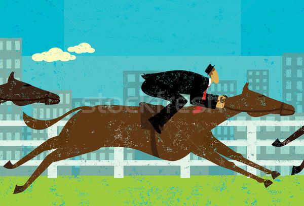 üzletember ló verseny gól lovak különálló Stock fotó © retrostar