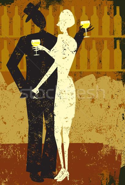 Couple drinking wine Stock photo © retrostar