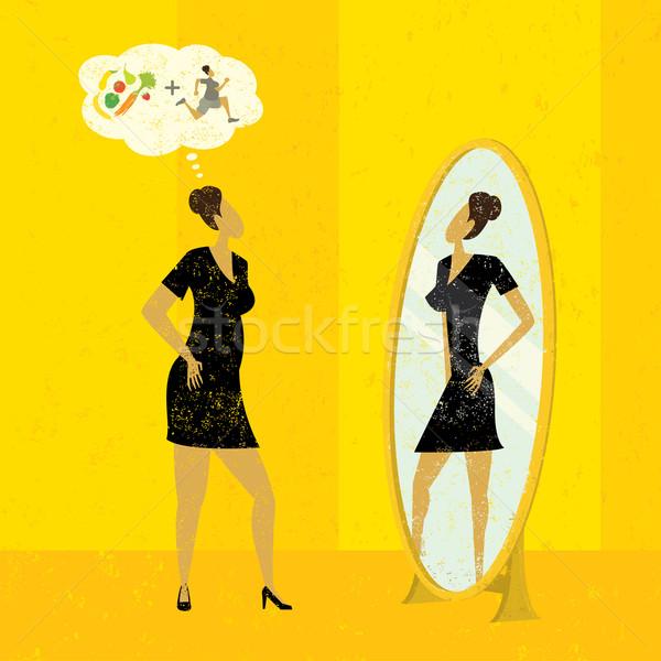 Rysunku kobieta lustra wersja puszka Zdjęcia stock © retrostar