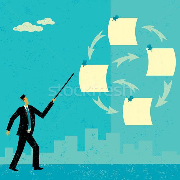 Feladatok üzletember jegyzetek absztrakt sziluett férfi Stock fotó © retrostar