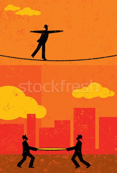 Lopen strakke koord retro zakenman twee mannen veiligheid Stockfoto © retrostar