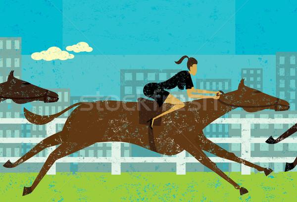 Femme d'affaires cheval course objectif chevaux séparé Photo stock © retrostar