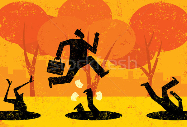 Affaires affaires sautant automne personnes séparément Photo stock © retrostar