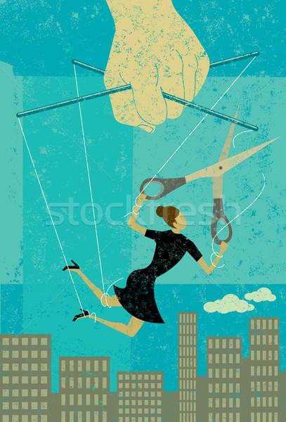 Patron femme d'affaires marionnette chaîne loin contrôle Photo stock © retrostar