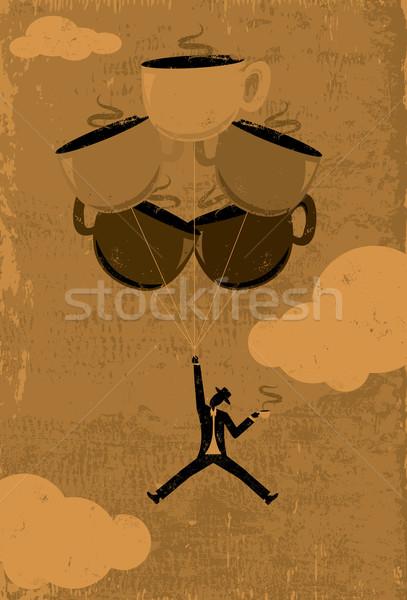 Koffein magas férfi sziluett lebeg levegő Stock fotó © retrostar