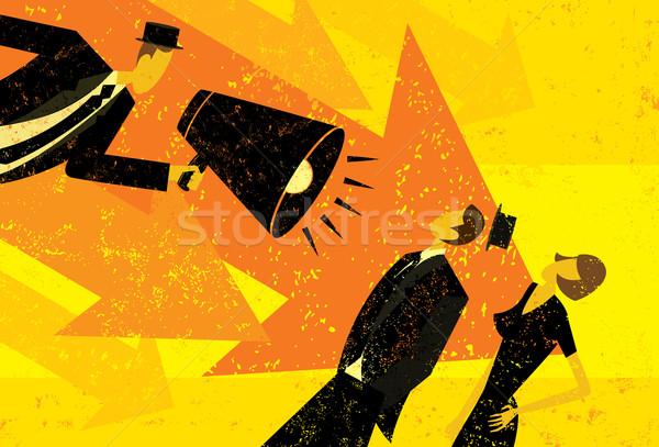 Alto mensagem empresário megafone pessoas Foto stock © retrostar