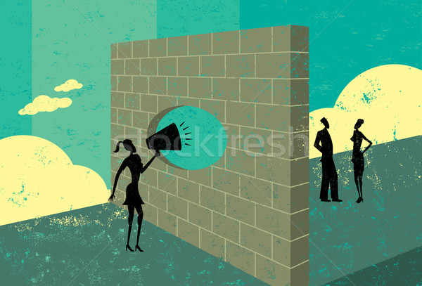 Shouting through a brick wall Stock photo © retrostar