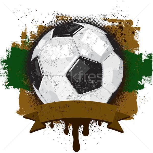 футбольным мячом текста баннер спорт Сток-фото © retrostar
