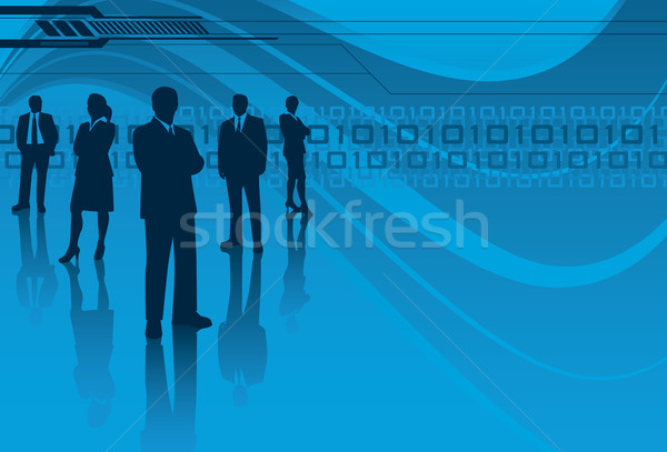 Technologia informacyjna zespołu technologii zespół firmy sylwetka kobiet Zdjęcia stock © retrostar