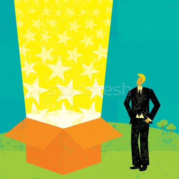 свет луч окна бизнесмен глядя магия Сток-фото © retrostar