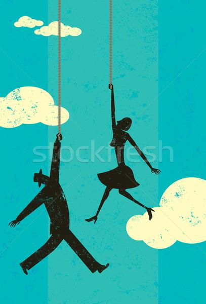 Koniec liny człowiek kobieta niebo wiszący Zdjęcia stock © retrostar