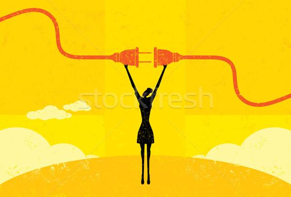 Kobieta interesu moc przewód kobieta elektryczne Zdjęcia stock © retrostar