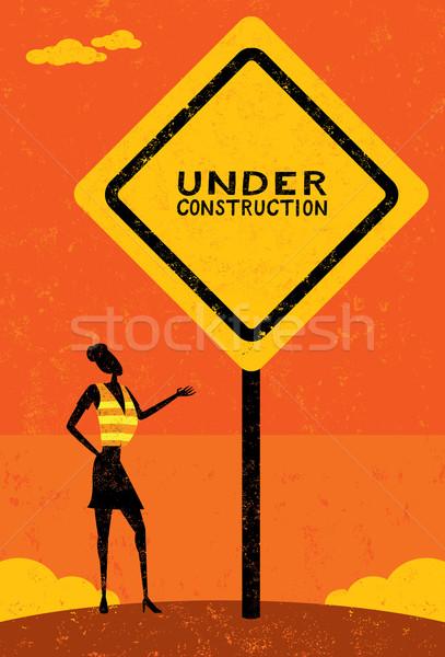 építkezés üzletasszony visel munka mellény felirat Stock fotó © retrostar