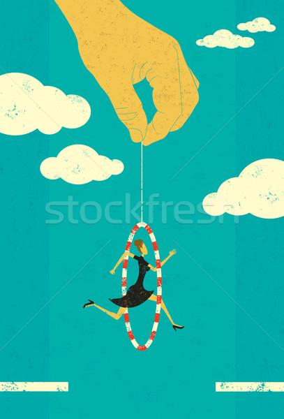 Saltando empresária mão mover para a frente mulher Foto stock © retrostar