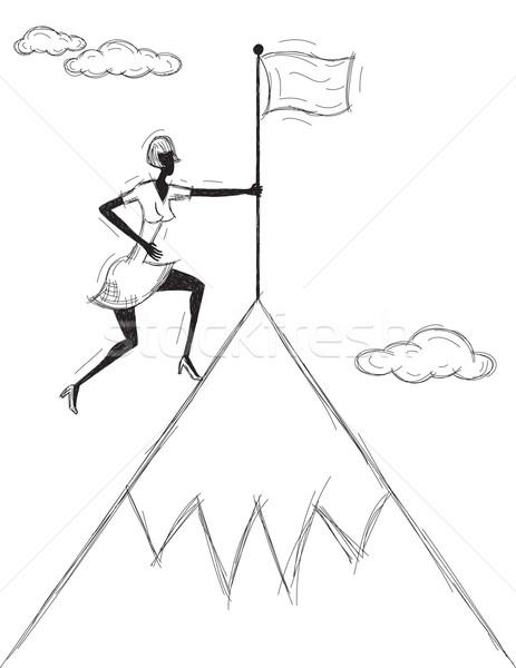 Planting a Flag on the Mountain Stock photo © retrostar