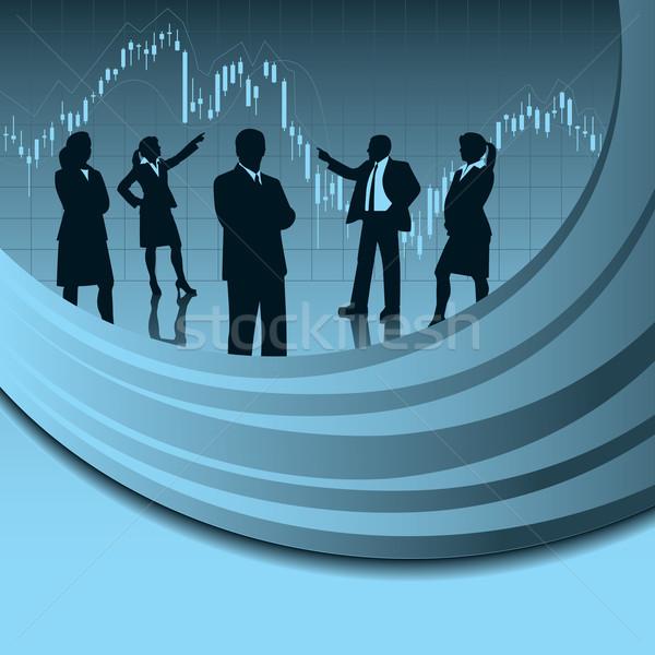 Financeiro análise equipe equipe de negócios silhueta projeto Foto stock © retrostar