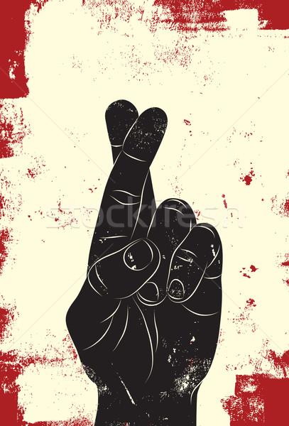 Dedos mano buena suerte detrás banner Foto stock © retrostar