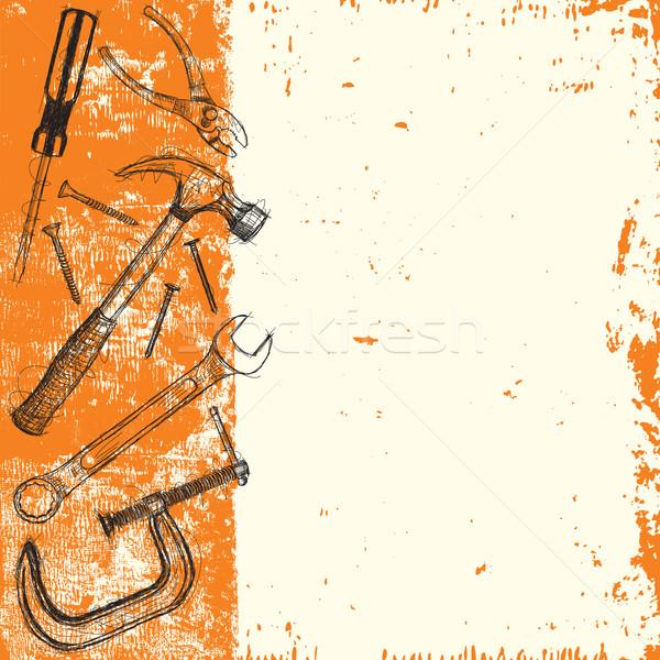 Construcción herramienta dibujado a mano herramientas resumen Foto stock © retrostar