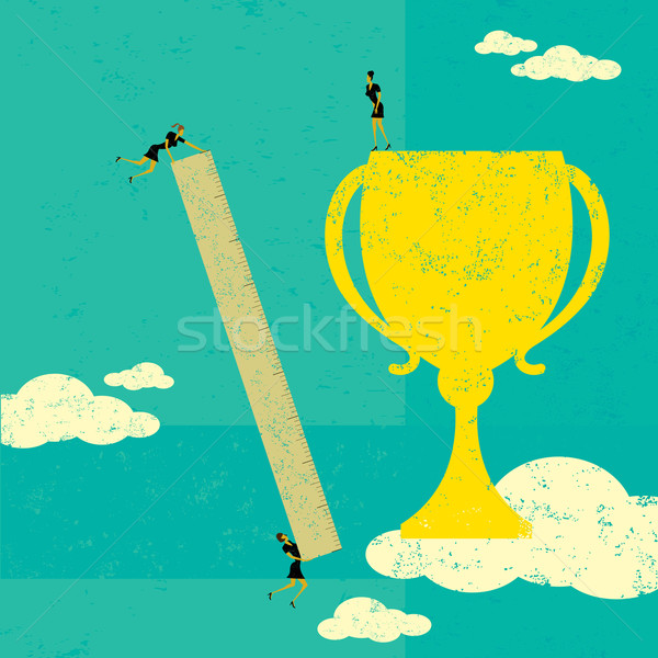 Empresarias éxito equipo de negocios gobernante medida Foto stock © retrostar
