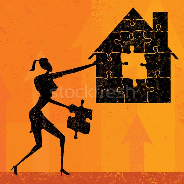 Maison hypothèque problèmes femme d'affaires pièces de puzzle ensemble Photo stock © retrostar