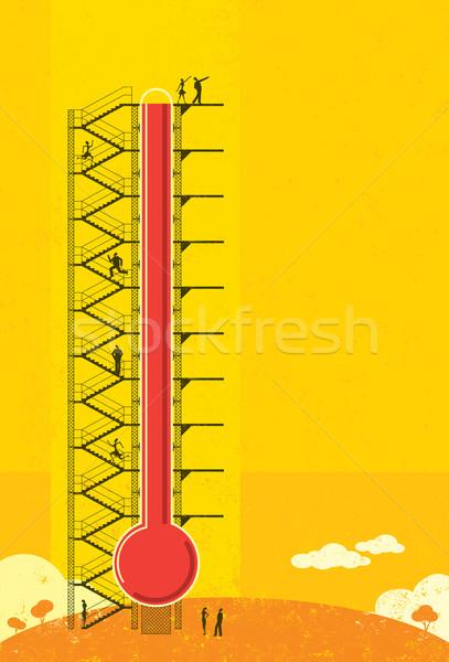 Thermometer mensen vooruitgang groot Stockfoto © retrostar