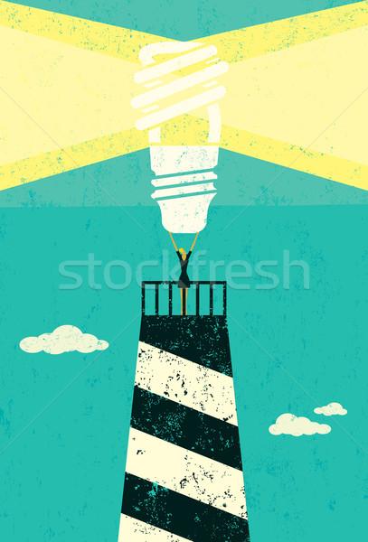 Energiebesparing vuurtoren zakenvrouw heldere energie Stockfoto © retrostar