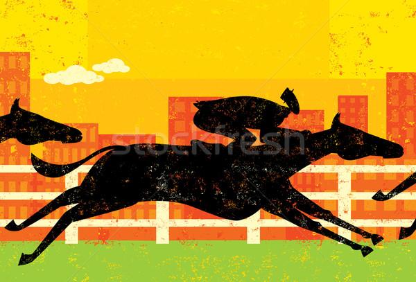 Stockfoto: Zakenman · paard · race · doel · paarden · apart