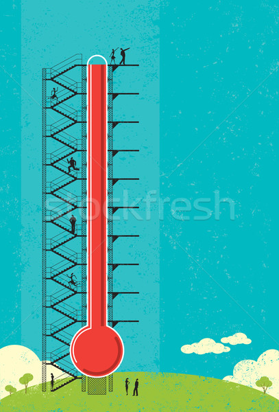 Thermometer mensen vooruitgang groot Stockfoto © retrostar