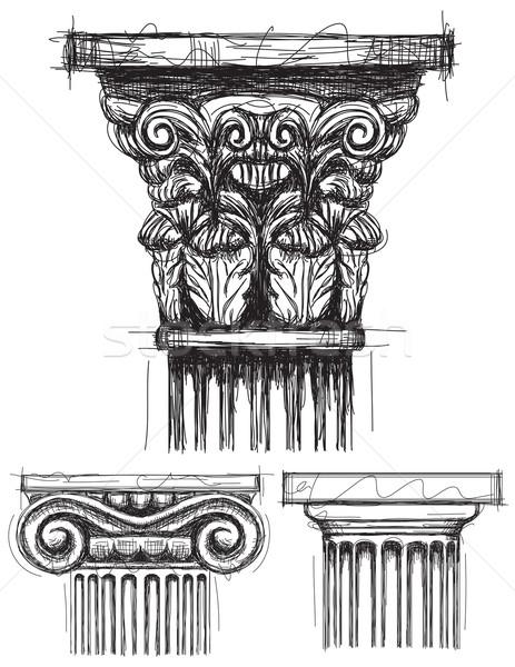 Colonne ionique pierre architecture dessin grec Photo stock © retrostar