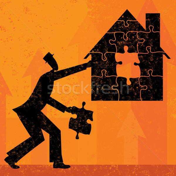 Maison hypothèque problèmes affaires pièces de puzzle ensemble Photo stock © retrostar