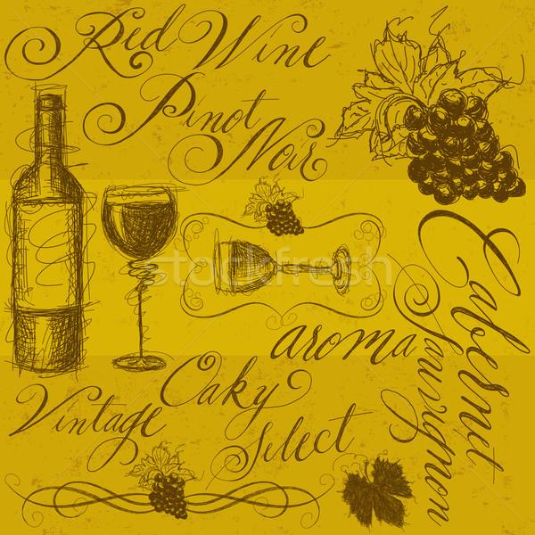 Wina kaligrafia butelkę wina kieliszki do wina Zdjęcia stock © retrostar