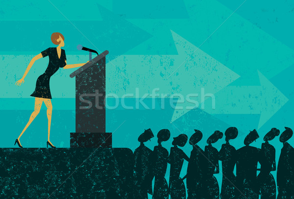 Konuşmacı işkadını konuşma kalabalık insanlar podyum Stok fotoğraf © retrostar